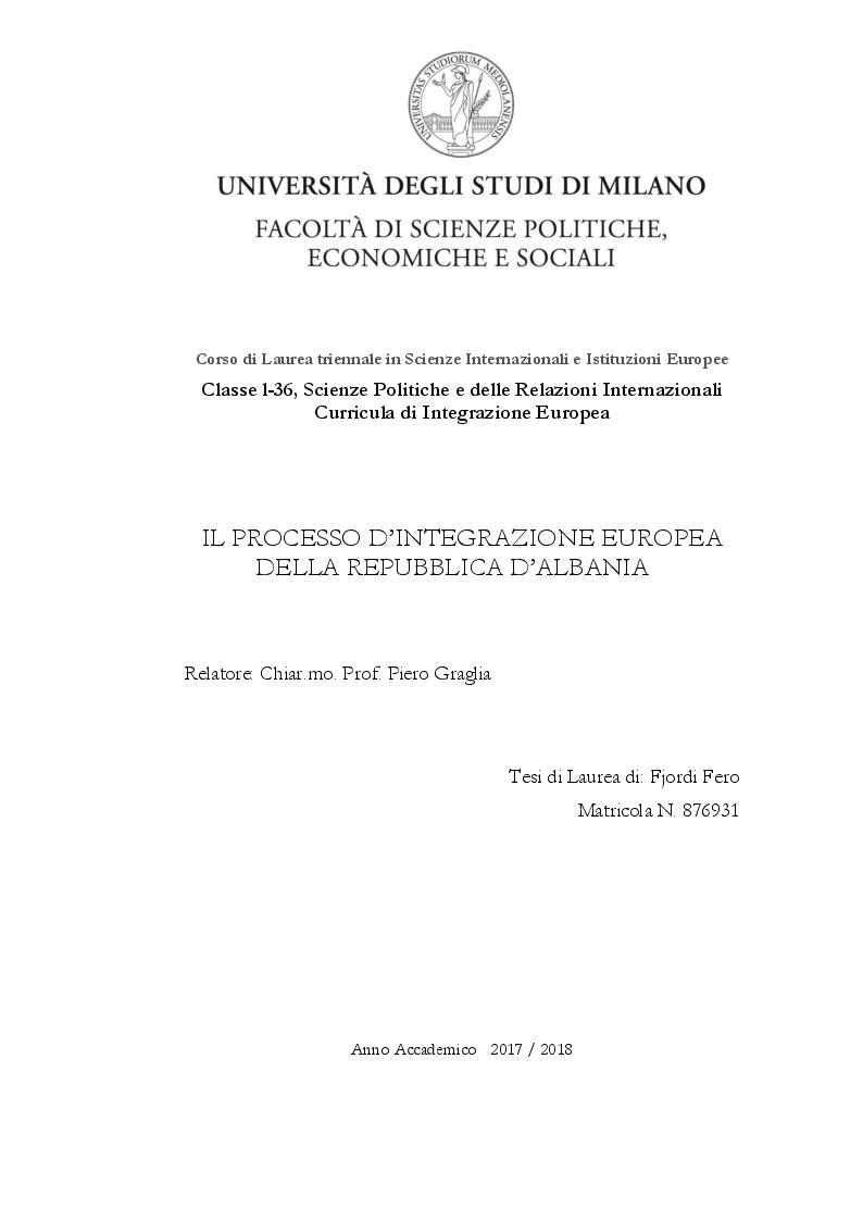 Anteprima della tesi: Il processo d'integrazione europea dell'Albania, Pagina 1