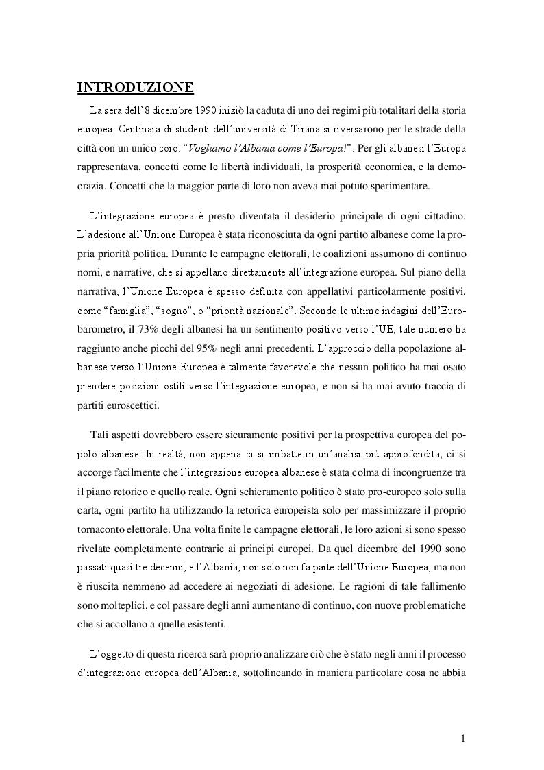 Anteprima della tesi: Il processo d'integrazione europea dell'Albania, Pagina 2