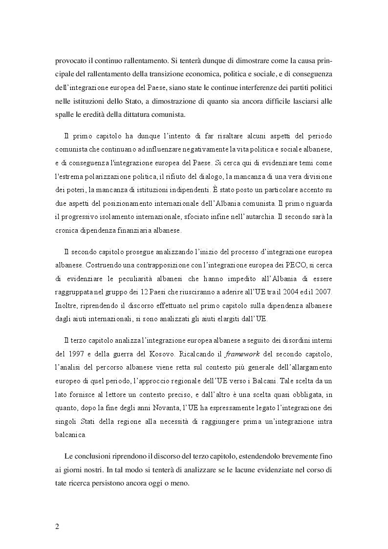 Anteprima della tesi: Il processo d'integrazione europea dell'Albania, Pagina 3