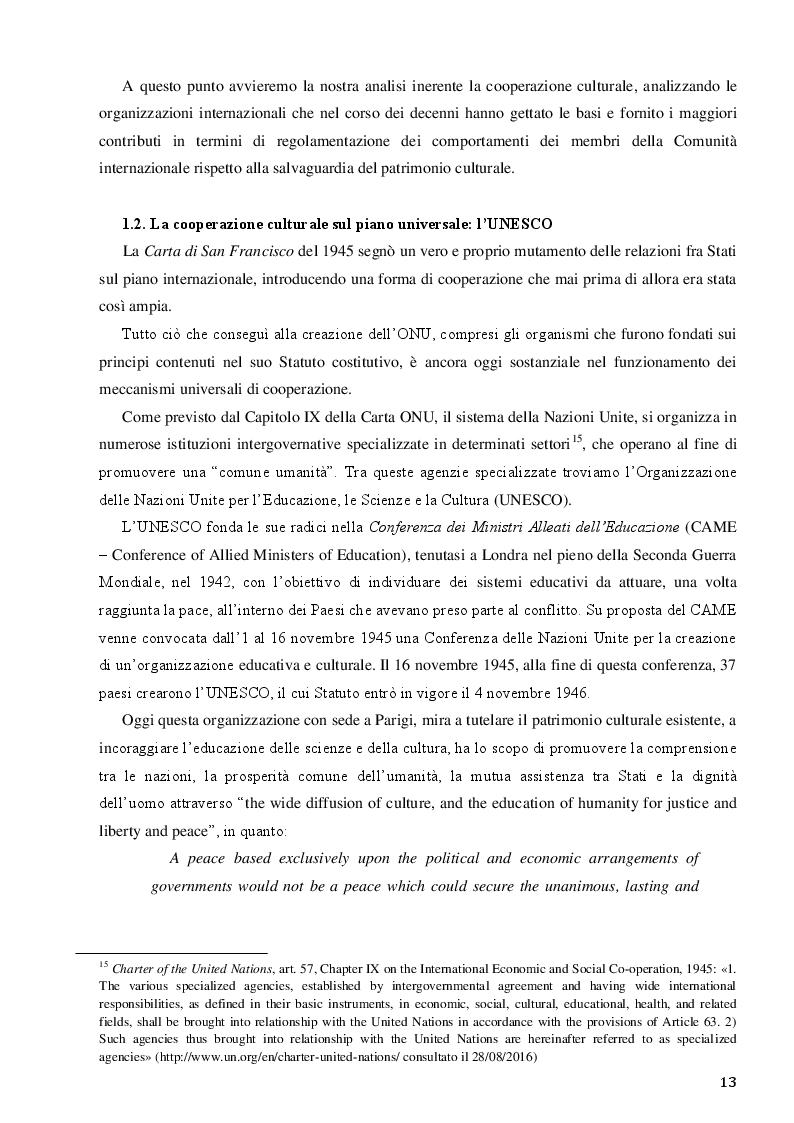 Estratto dalla tesi: La Santa Sede e le relazioni con le Organizzazioni Internazionali per la cooperazione culturale