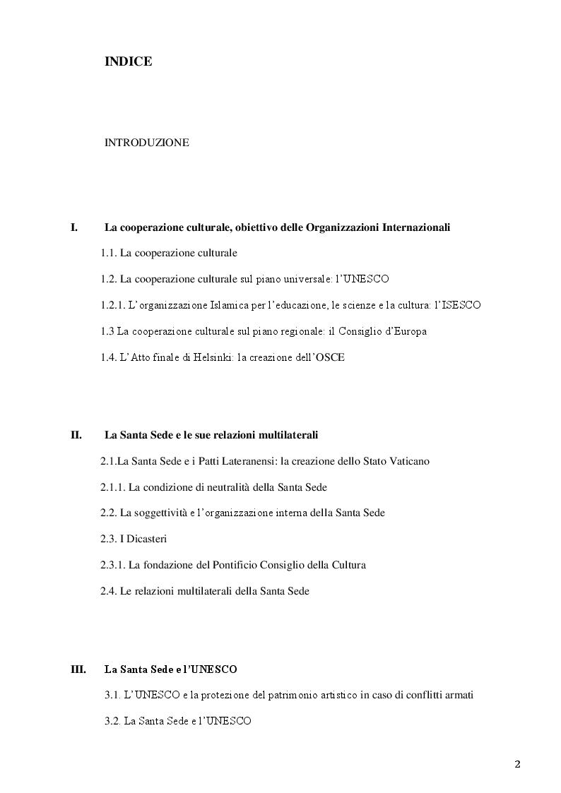Indice della tesi: La Santa Sede e le relazioni con le Organizzazioni Internazionali per la cooperazione culturale, Pagina 1