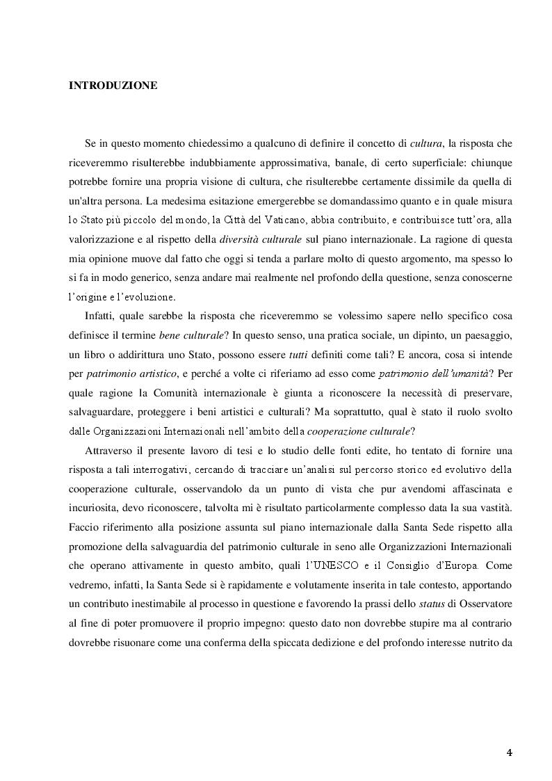 Anteprima della tesi: La Santa Sede e le relazioni con le Organizzazioni Internazionali per la cooperazione culturale, Pagina 2