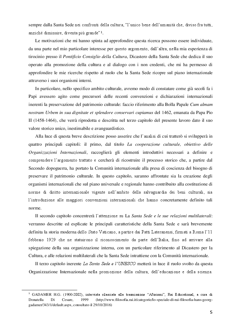 Anteprima della tesi: La Santa Sede e le relazioni con le Organizzazioni Internazionali per la cooperazione culturale, Pagina 3