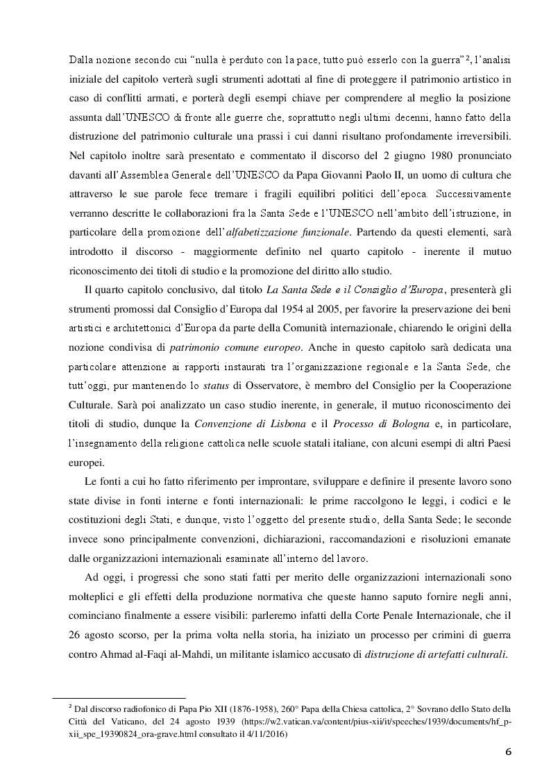 Anteprima della tesi: La Santa Sede e le relazioni con le Organizzazioni Internazionali per la cooperazione culturale, Pagina 4