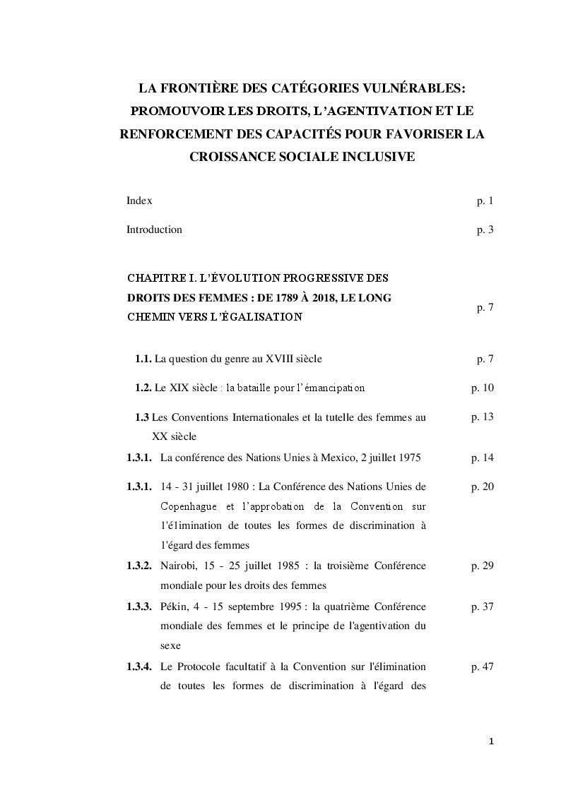 Indice della tesi: La frontière des catégories vulnérables: promouvoir les droits, l'agentivation et le renforcement des capacités pour favoriser la croissance sociale inclusive, Pagina 1