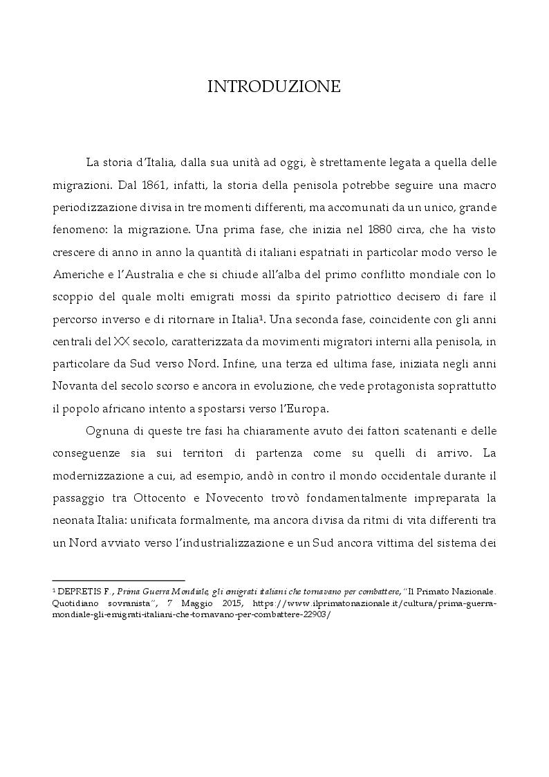 Anteprima della tesi: L'Italia, terra di migrazione: dalle emigrazioni del Novecento alle migrazioni di costa del presente. L'esempio del Centro di Prima Accoglienza ''Cpa Maratona'' di Cibali a Catania, Pagina 2
