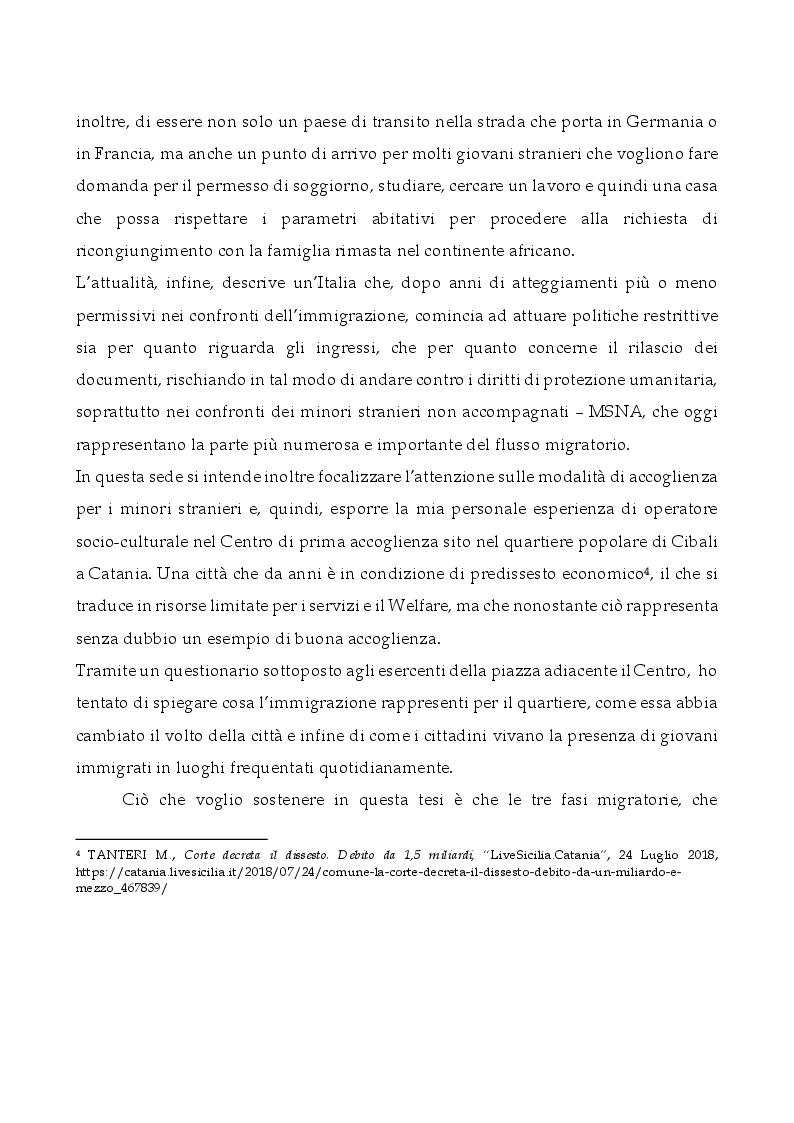 Anteprima della tesi: L'Italia, terra di migrazione: dalle emigrazioni del Novecento alle migrazioni di costa del presente. L'esempio del Centro di Prima Accoglienza ''Cpa Maratona'' di Cibali a Catania, Pagina 4