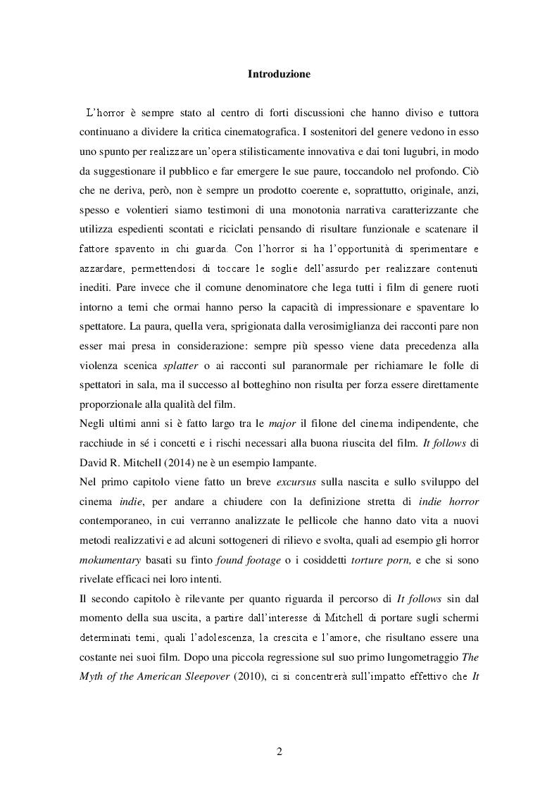 """Anteprima della tesi: """"It follows"""" (David R. Mitchell, 2014) ANALISI DI UN INDIE HORROR, Pagina 3"""