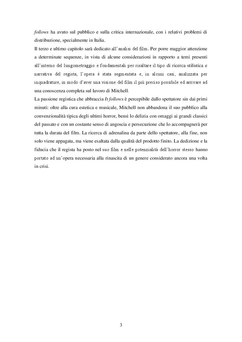"""Anteprima della tesi: """"It follows"""" (David R. Mitchell, 2014) ANALISI DI UN INDIE HORROR, Pagina 4"""