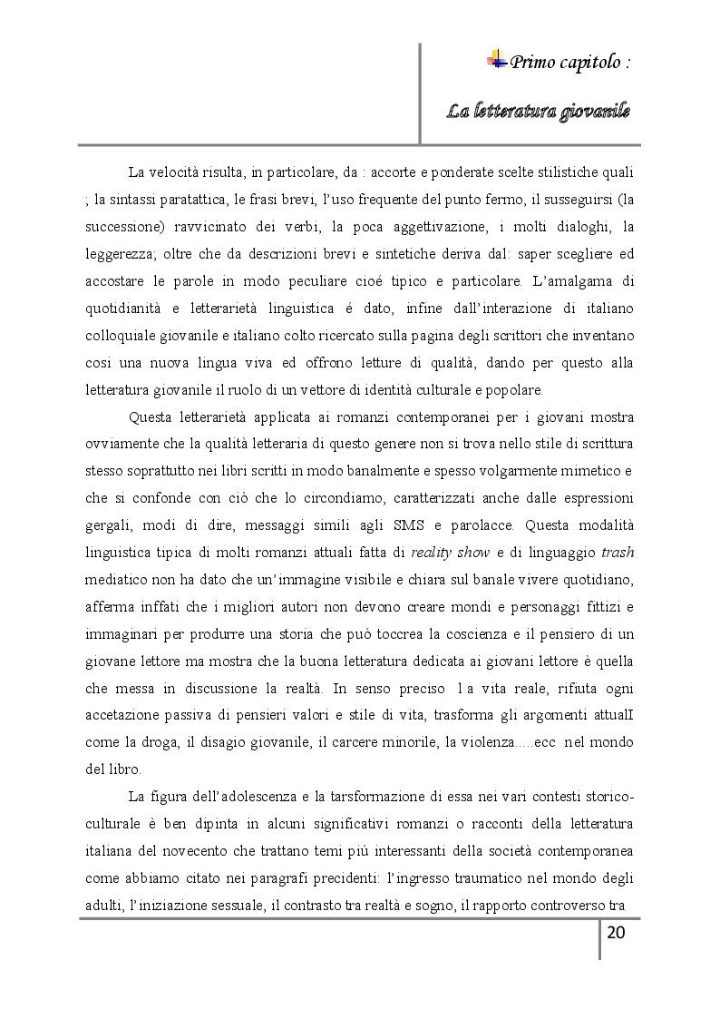 Estratto dalla tesi: La letteratura giovanile nei romanzi italiani contemporanei ''Il caso di esco a fare due passi''