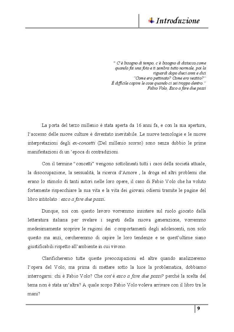 Anteprima della tesi: La letteratura giovanile nei romanzi italiani contemporanei ''Il caso di esco a fare due passi'', Pagina 3