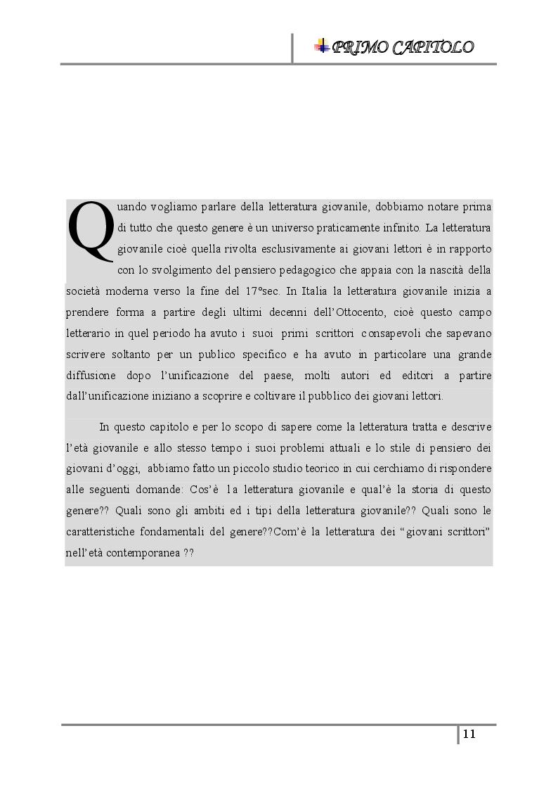 Anteprima della tesi: La letteratura giovanile nei romanzi italiani contemporanei ''Il caso di esco a fare due passi'', Pagina 5