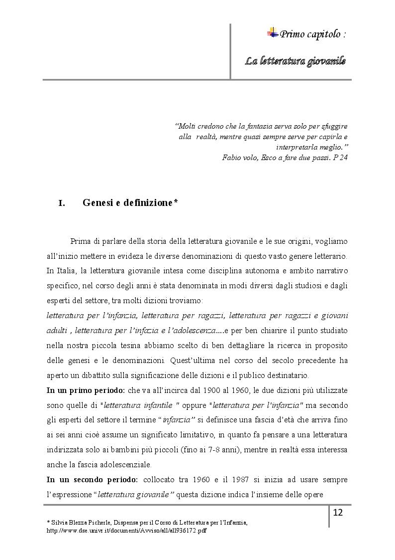 Anteprima della tesi: La letteratura giovanile nei romanzi italiani contemporanei ''Il caso di esco a fare due passi'', Pagina 6