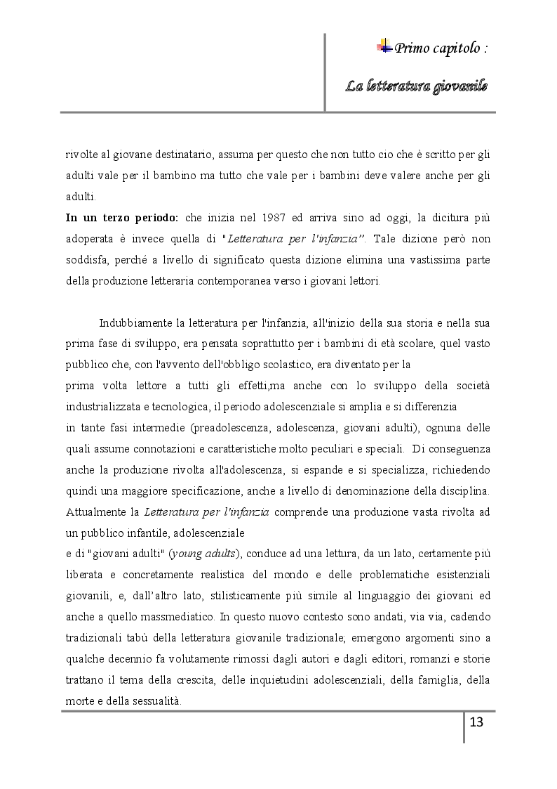 Anteprima della tesi: La letteratura giovanile nei romanzi italiani contemporanei ''Il caso di esco a fare due passi'', Pagina 7