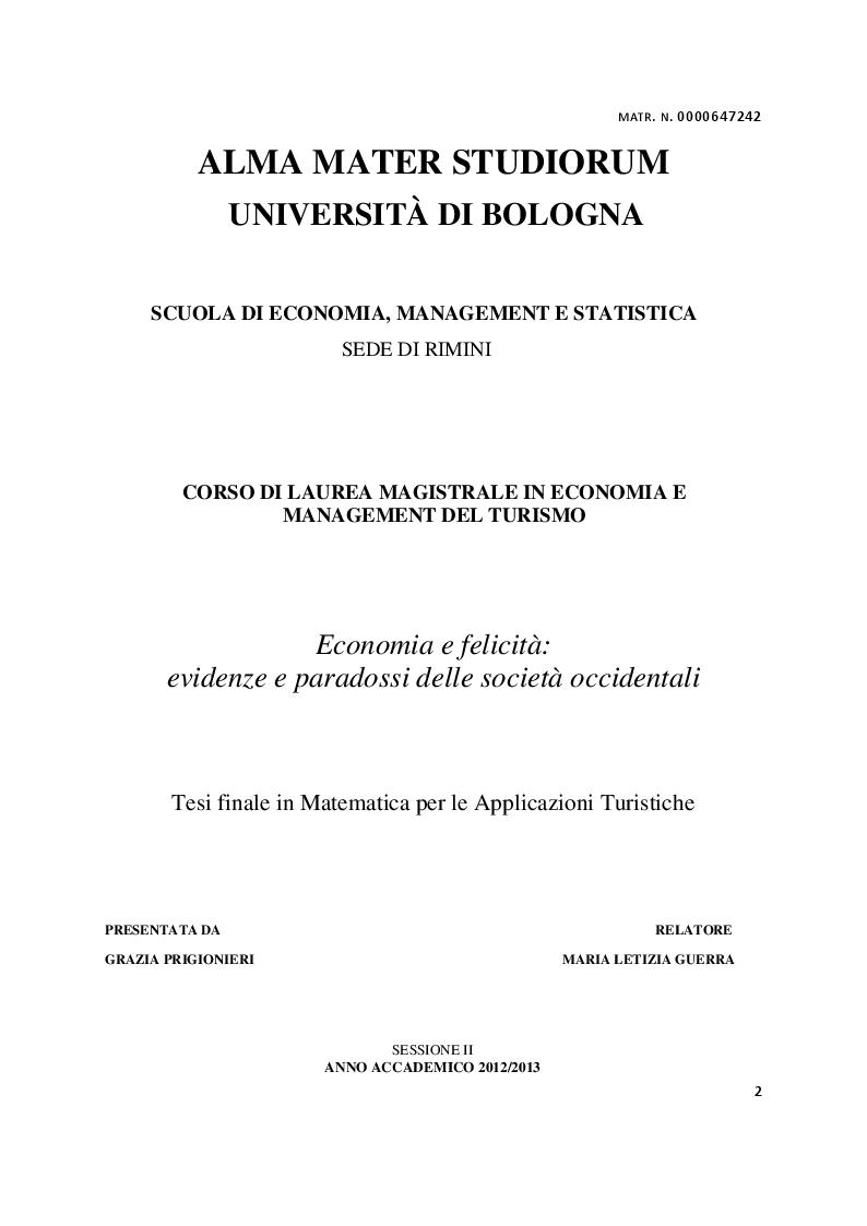 Anteprima della tesi: Economia e felicità: evidenze e paradossi delle società occidentali, Pagina 1