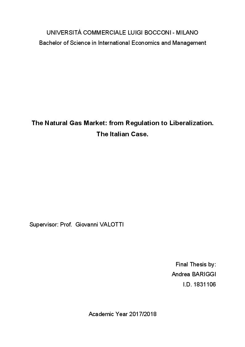 Anteprima della tesi: The Natural Gas Market: from Regulation to Liberalization. The Italian Case., Pagina 1