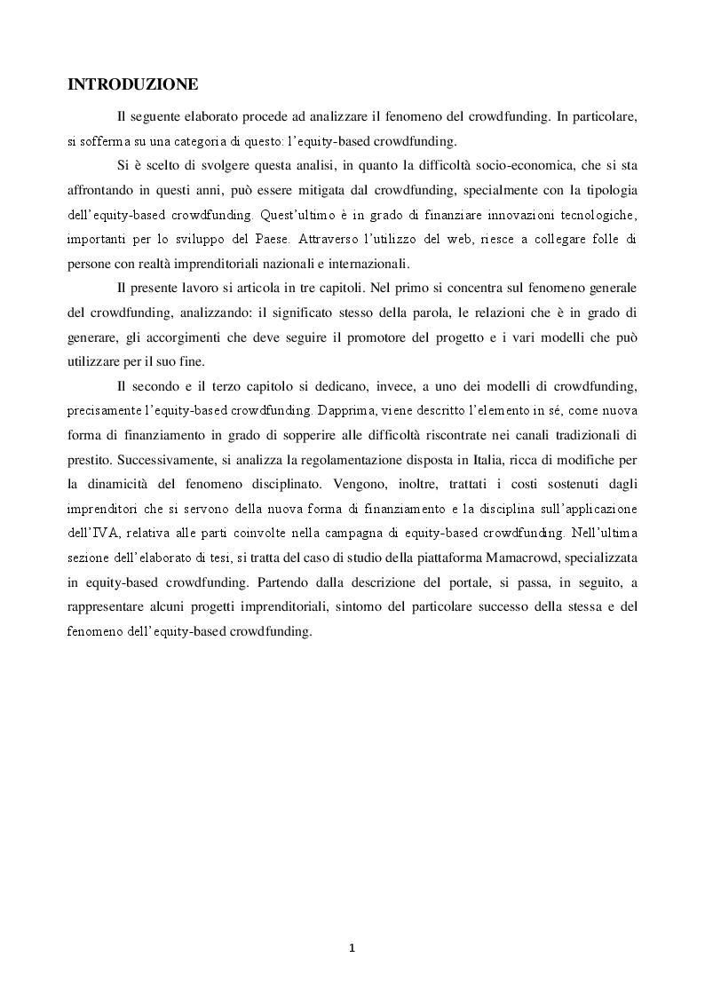 Anteprima della tesi: Equity crowdfunding: il caso Mamacrowd, Pagina 2