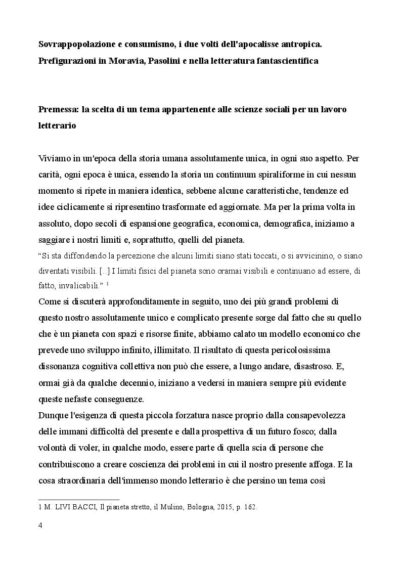 Anteprima della tesi: Sovrappopolazione e consumismo, i due volti dell'apocalisse antropica. Prefigurazioni in Moravia, Pasolini e nella letteratura fantascientifica, Pagina 2