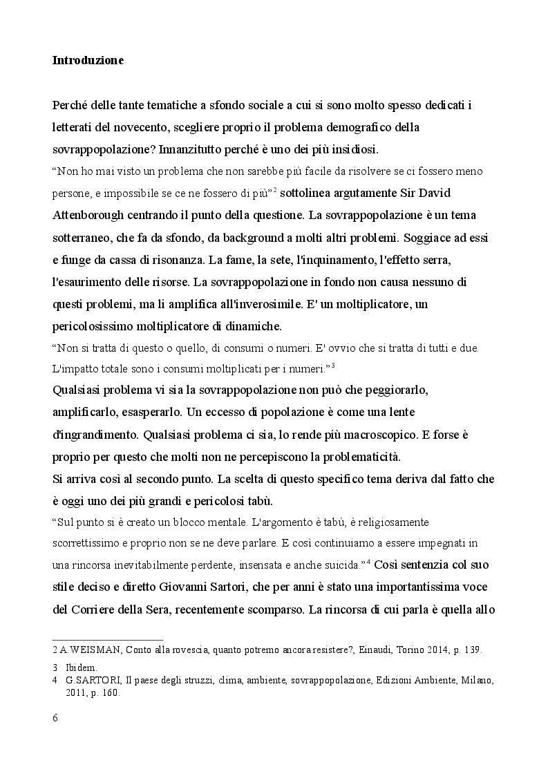 Anteprima della tesi: Sovrappopolazione e consumismo, i due volti dell'apocalisse antropica. Prefigurazioni in Moravia, Pasolini e nella letteratura fantascientifica, Pagina 4