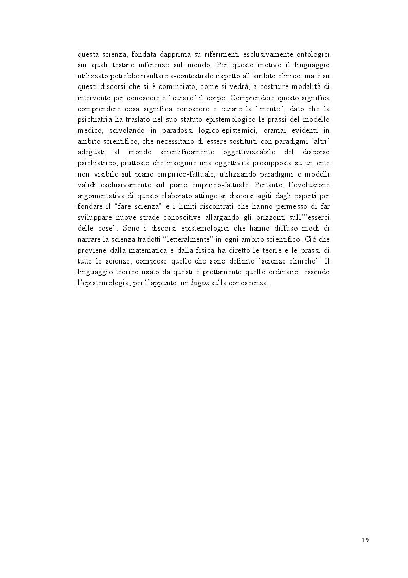 Estratto dalla tesi: Analisi epistemologica dei fondamenti teorico-metodologici della psichiatria. Dal costrutto senza episteme della ''medicina della mente'' alla fondazione della configurazione discorsiva esemplificata nello studio della Disforia di Genere