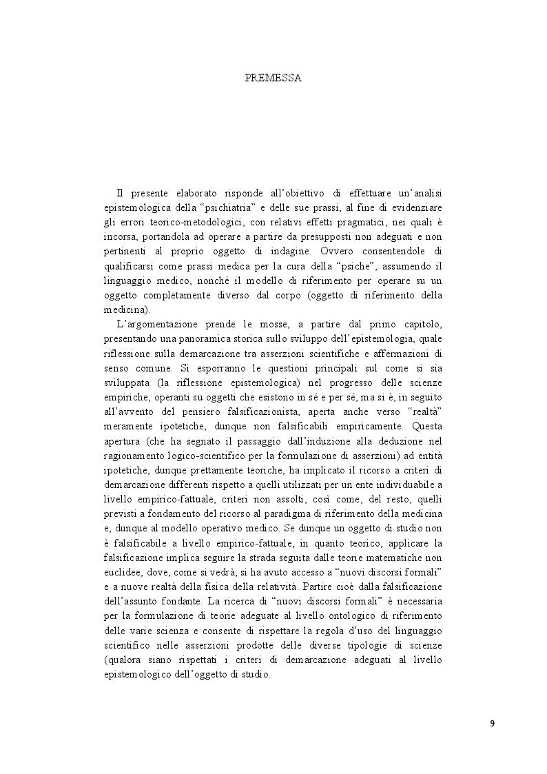 Anteprima della tesi: Analisi epistemologica dei fondamenti teorico-metodologici della psichiatria. Dal costrutto senza episteme della ''medicina della mente'' alla fondazione della configurazione discorsiva esemplificata nello studio della Disforia di Genere, Pagina 2