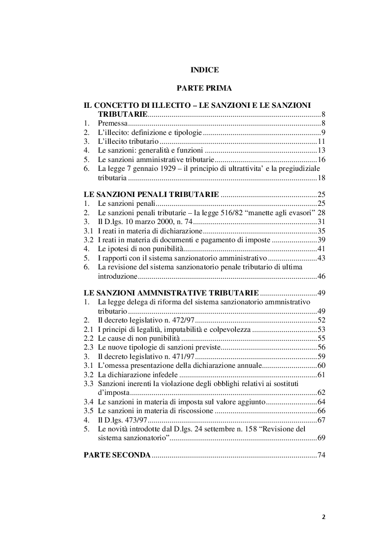Indice della tesi: I rapporti tra sanzioni amministrative tributarie e penali tributarie - La problematica del ''Ne Bis in Idem'', Pagina 1