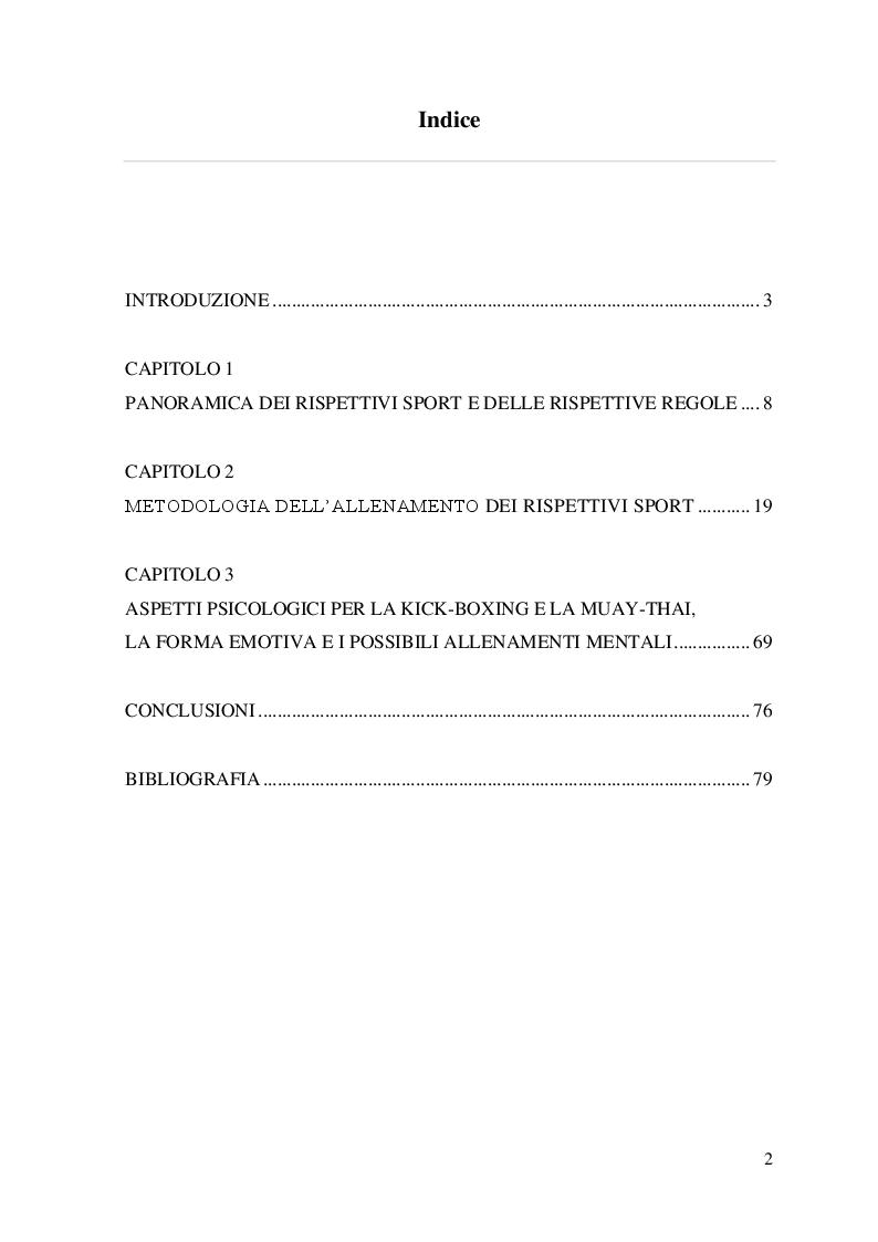 Indice della tesi: Metodologia di allenamento per la Kick-boxing e la Muay-thai, Pagina 1