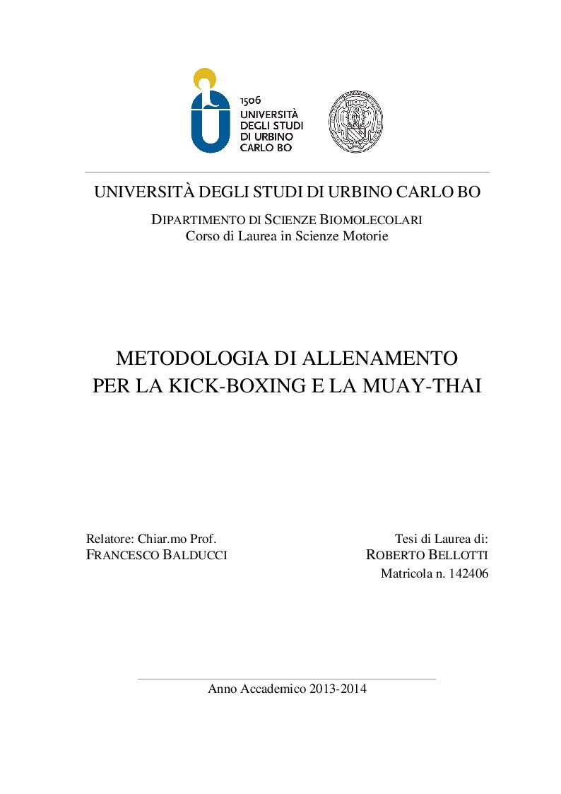 Anteprima della tesi: Metodologia di allenamento per la Kick-boxing e la Muay-thai, Pagina 1
