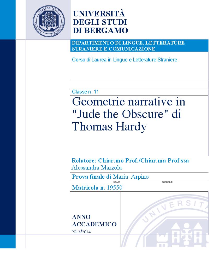 Anteprima della tesi: Geometrie narrative in ''Jude the Obscure'' di Thomas Hardy, Pagina 1
