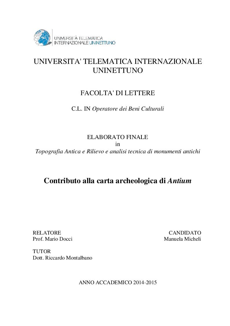 Anteprima della tesi: Contributo alla carta archeologica di Antium, Pagina 1