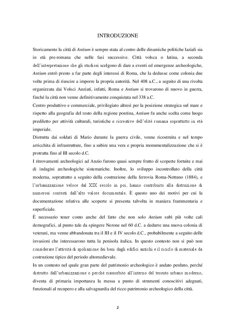 Anteprima della tesi: Contributo alla carta archeologica di Antium, Pagina 2