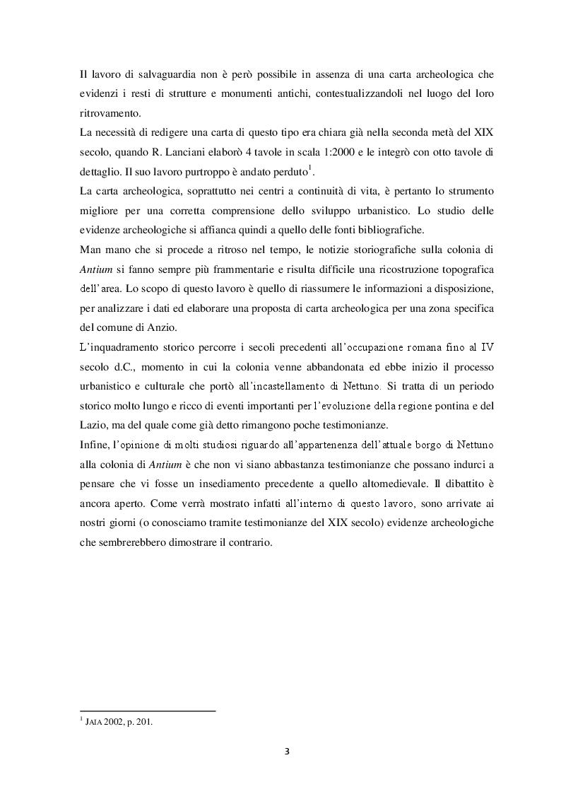 Anteprima della tesi: Contributo alla carta archeologica di Antium, Pagina 3