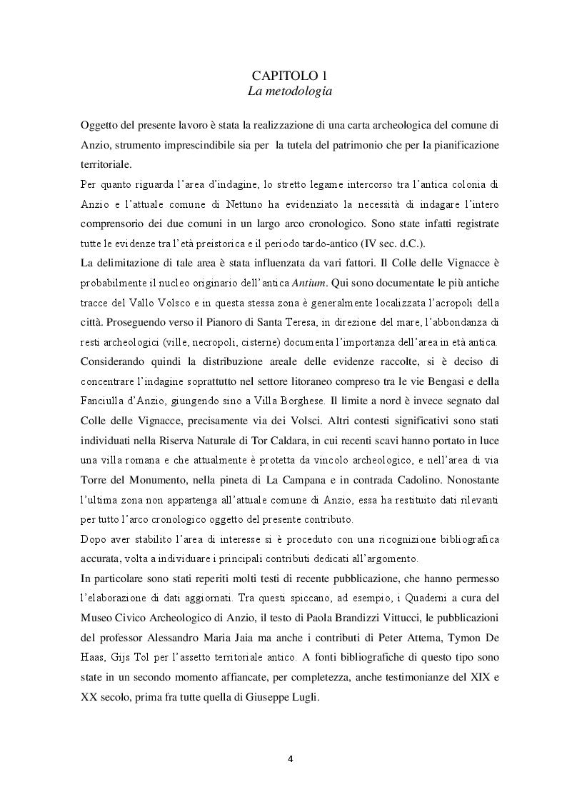 Anteprima della tesi: Contributo alla carta archeologica di Antium, Pagina 4
