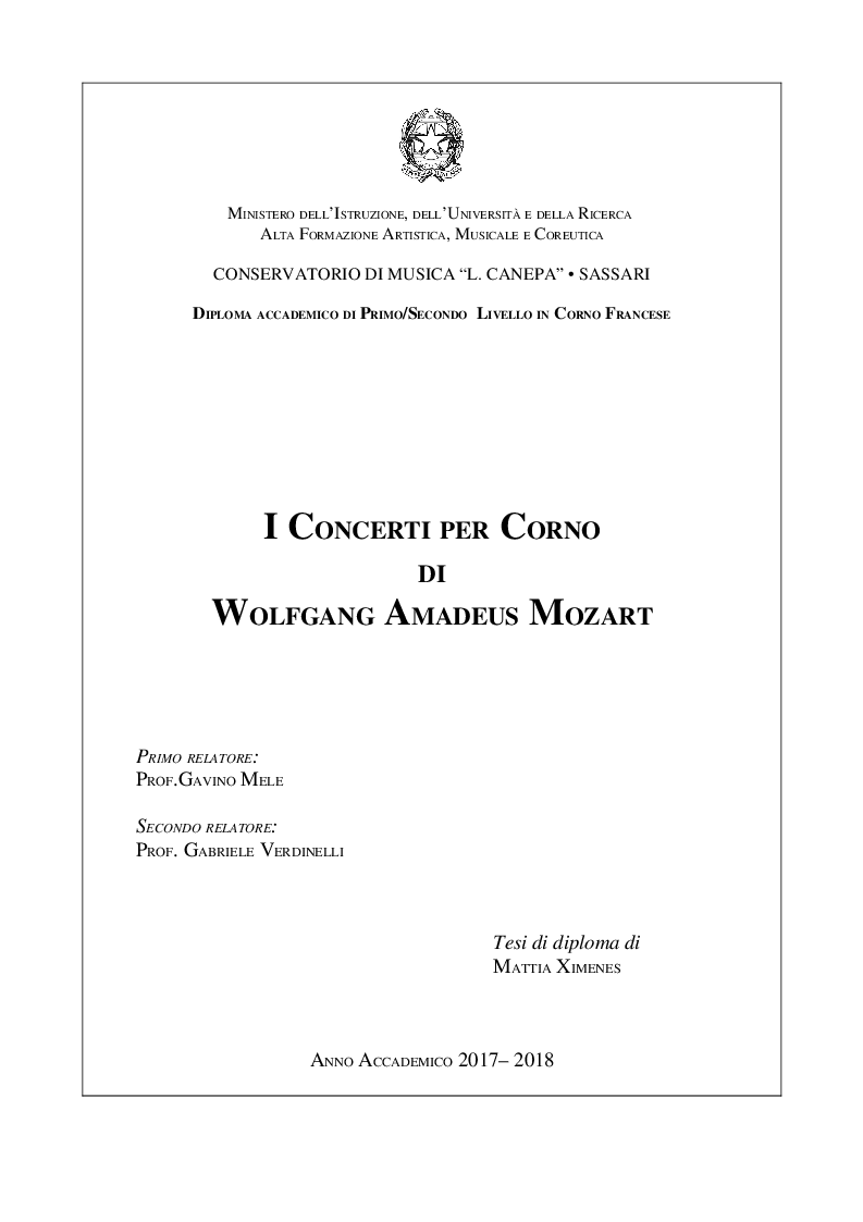 Anteprima della tesi: I Concerti Per Corno Di Wolfgang Amadeus Mozart, Pagina 1