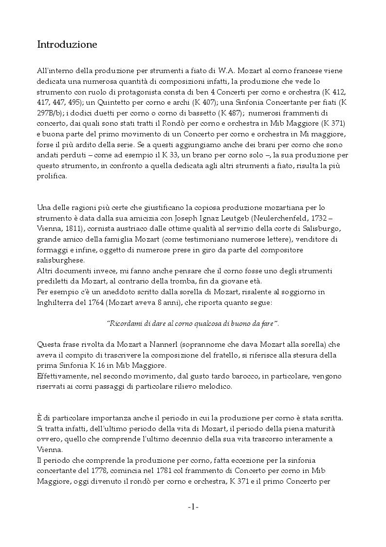 Anteprima della tesi: I Concerti Per Corno Di Wolfgang Amadeus Mozart, Pagina 2