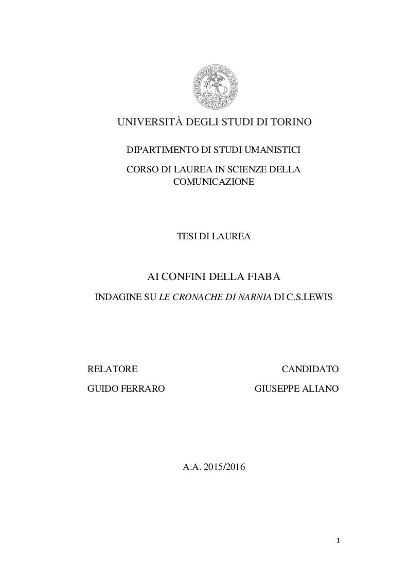 Anteprima della tesi: Ai confini della fiaba - Indagine su Le Cronache di Narnia, Pagina 1
