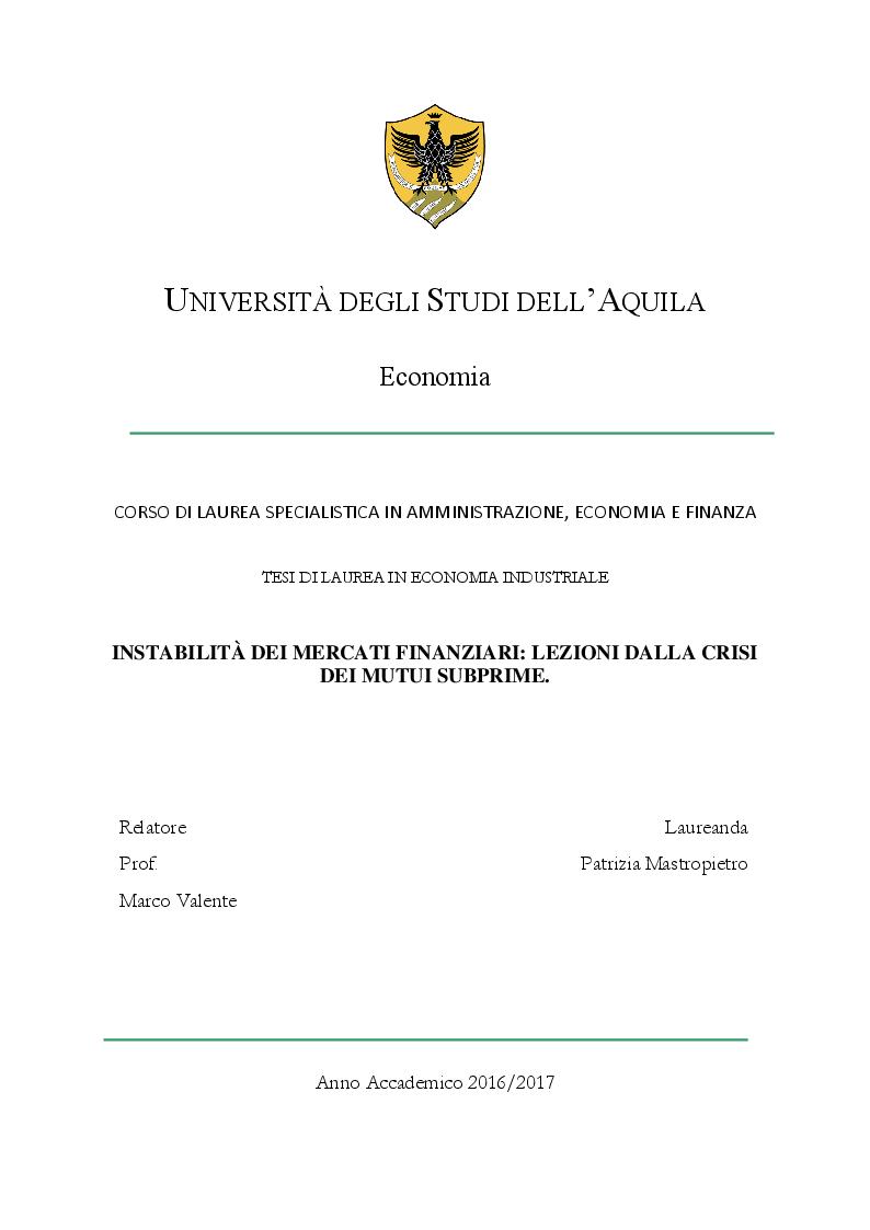 Anteprima della tesi: Instabilità dei mercati finanziari: lezioni dalla crisi dei mutui subprime, Pagina 1