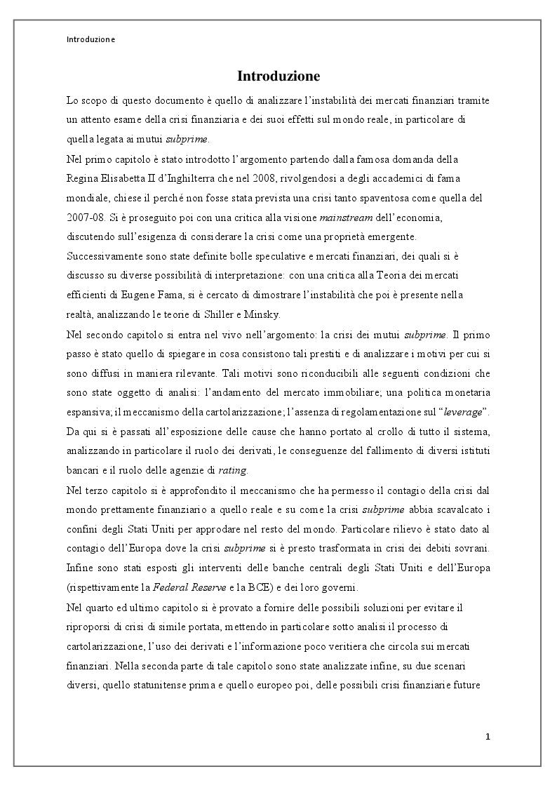 Anteprima della tesi: Instabilità dei mercati finanziari: lezioni dalla crisi dei mutui subprime, Pagina 2