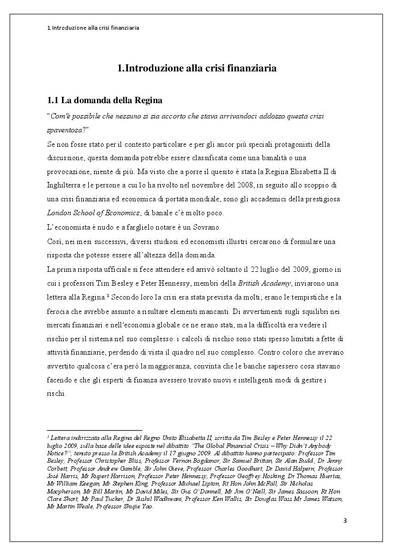 Anteprima della tesi: Instabilità dei mercati finanziari: lezioni dalla crisi dei mutui subprime, Pagina 4
