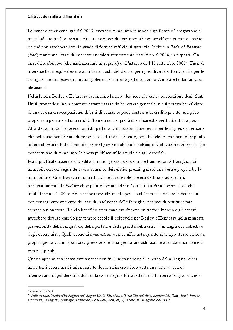 Anteprima della tesi: Instabilità dei mercati finanziari: lezioni dalla crisi dei mutui subprime, Pagina 5