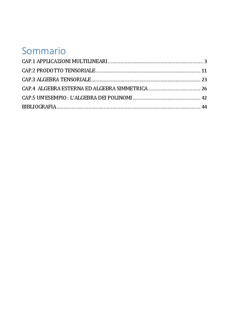 Indice della tesi: L'algebra tensoriale, Pagina 1