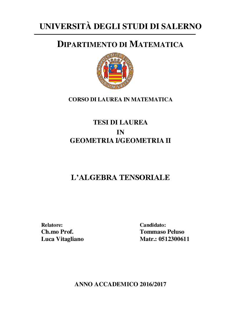 Anteprima della tesi: L'algebra tensoriale, Pagina 1