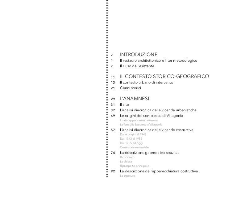 Indice della tesi: Un restauro ''accogliente''. Una proposta per Villagonia (ME), Pagina 1
