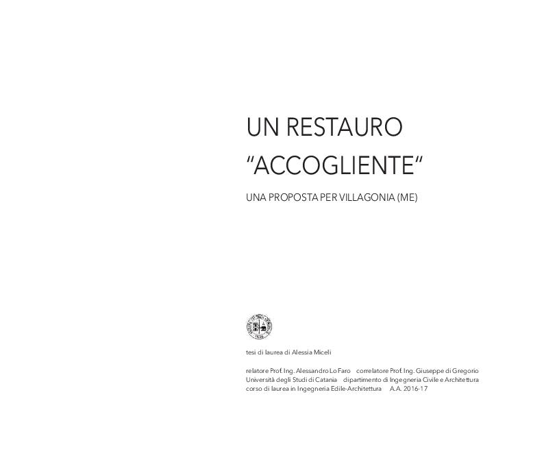 Anteprima della tesi: Un restauro ''accogliente''. Una proposta per Villagonia (ME), Pagina 2