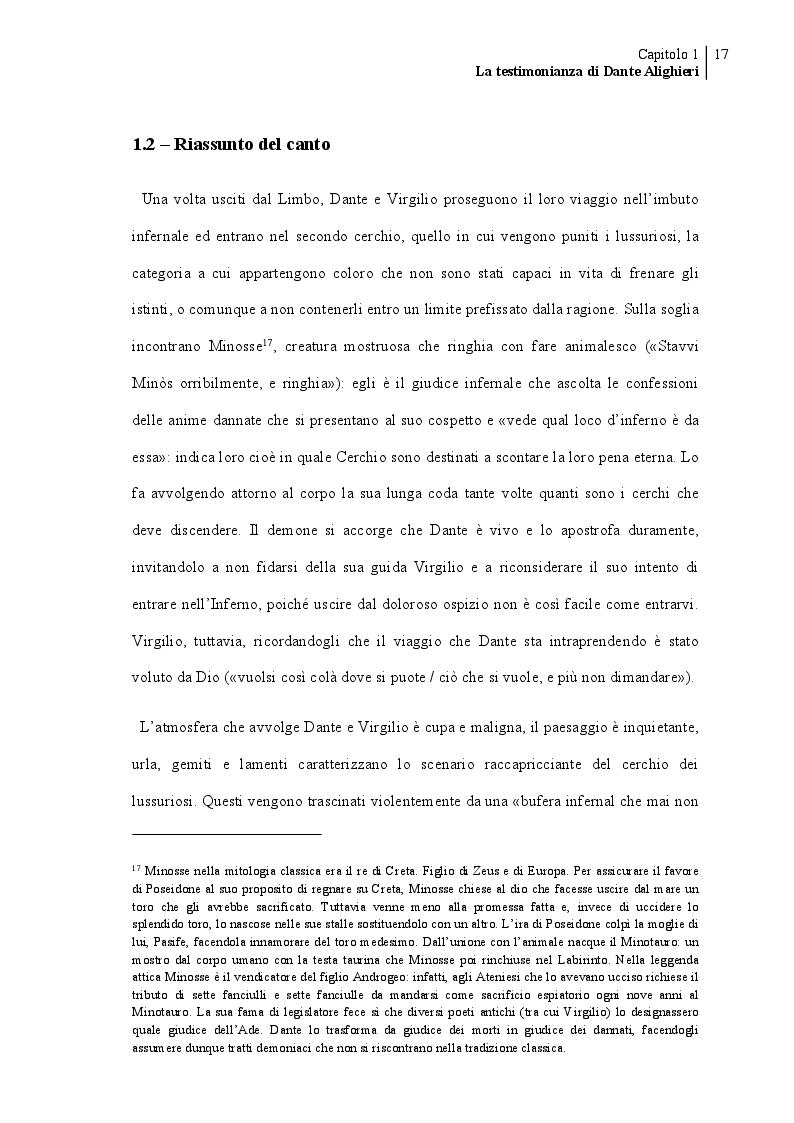 Estratto dalla tesi: Francesca da Rimini
