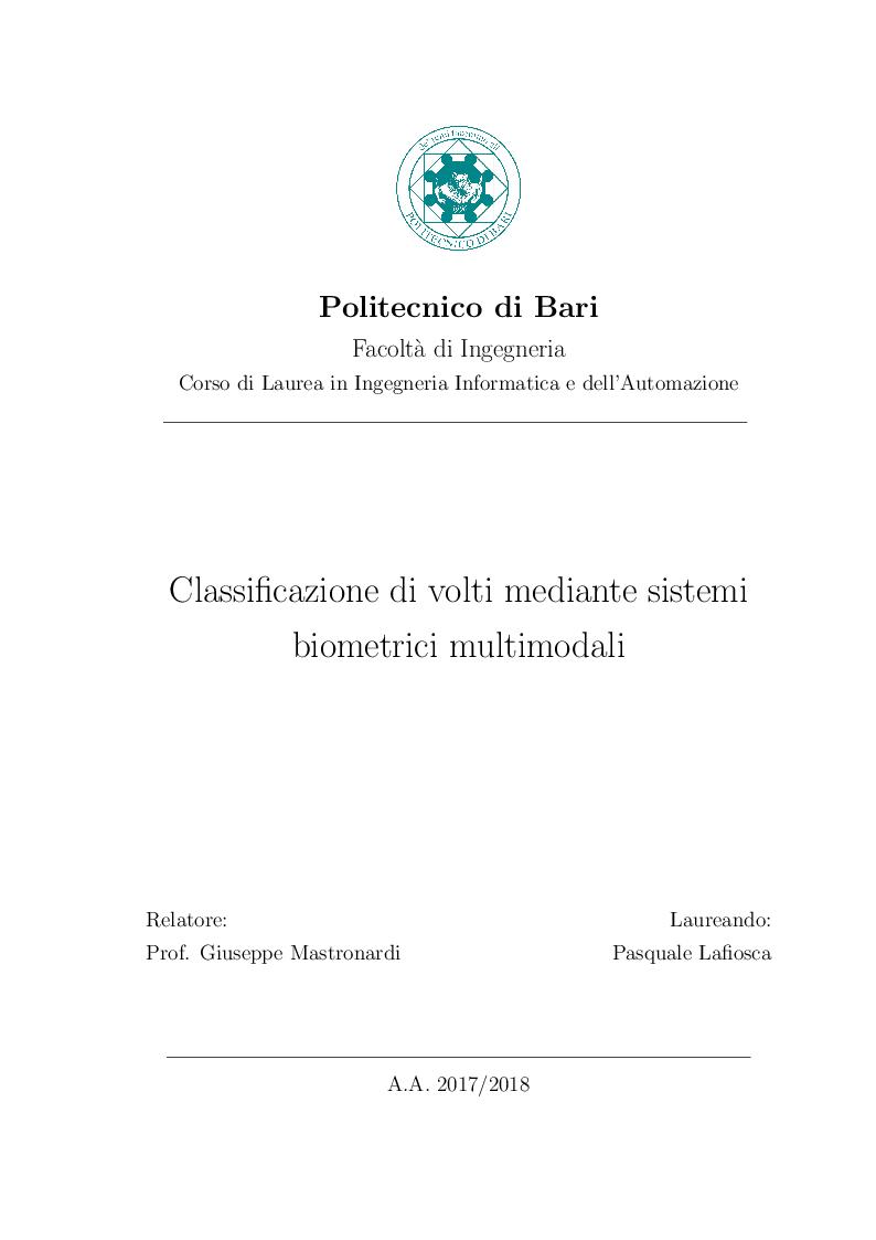 Anteprima della tesi: Classificazione di volti mediante sistemi biometrici multimodali, Pagina 1