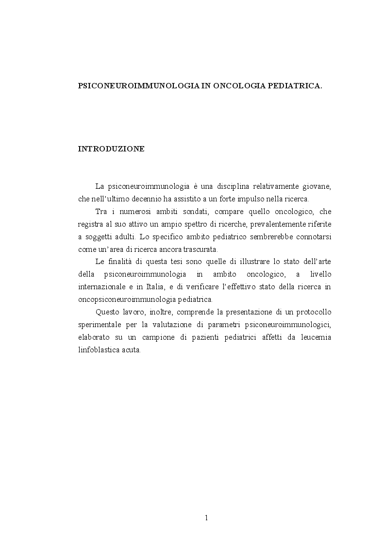 Anteprima della tesi: Psiconeuroimmunologia in oncologia pediatrica, Pagina 2