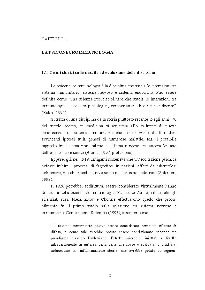 Anteprima della tesi: Psiconeuroimmunologia in oncologia pediatrica, Pagina 3