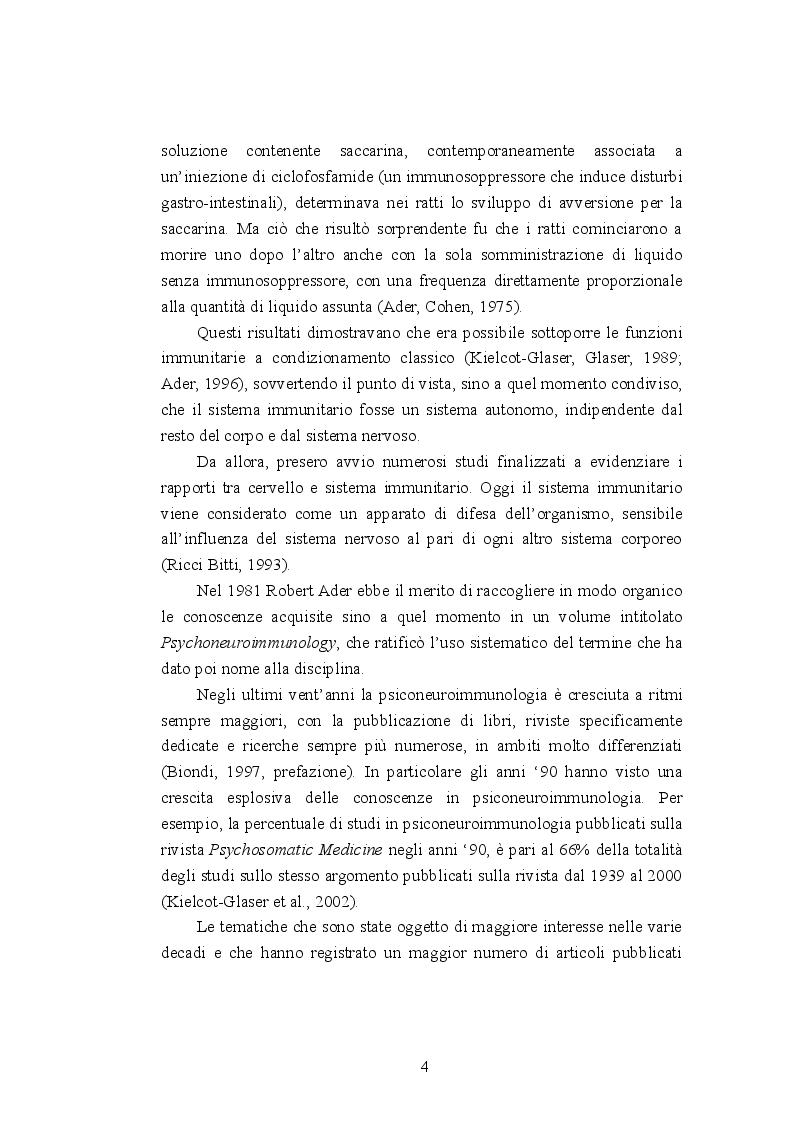 Anteprima della tesi: Psiconeuroimmunologia in oncologia pediatrica, Pagina 5