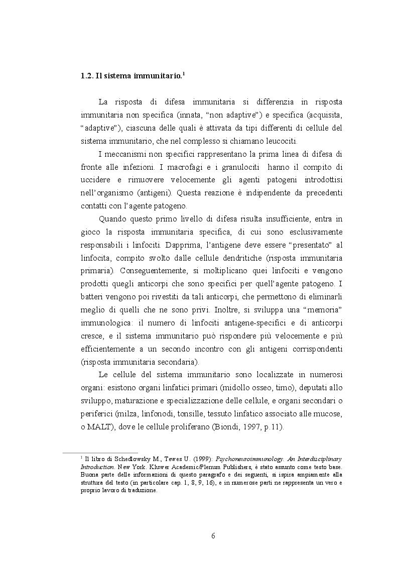 Anteprima della tesi: Psiconeuroimmunologia in oncologia pediatrica, Pagina 7